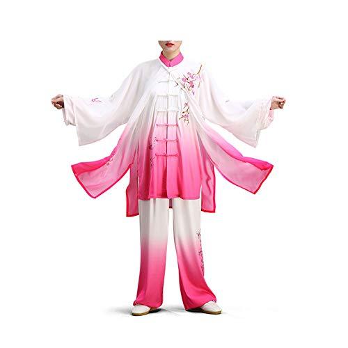 ZZUU Tai Chi Anzug- Damen Farbverlauf Floral Bestickte Chinesische Kampfkunst Tai Chi Anzug Kampfkunst Performance-Kleidung,Pink,XL -