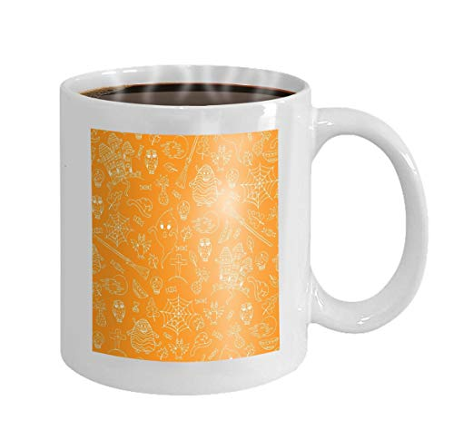 11 oz White Ceramic Coffee Mug hand drawn halloween orange white doodles hand drawn halloween orange white doodles