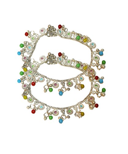 Silber Kette Multicolor Tropfen Elegante 2piece Designer Fußkettchen Set TA63