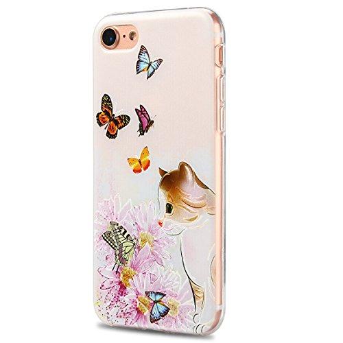 iphone 7 / 7s Hülle, E-Lush Mode Muster TPU Hülle für iphone 7 / 7s (4.7 Zoll) [Kratzfeste, Scratch-Resistant] Weiche Flexible Silikon Handyhülle Clear Transparent Tasche Ultra Dünne Schutzhülle Durch Katze