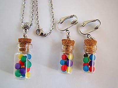 Coffret cadeau de noël collier et boucles d'oreilles clips enfants fioles bonbons multicolores polymère fimo