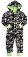 Boys Camouflage Hooded Fleece Onesie All In One Jumpsuit Nightwear Kids Children