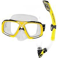 Aqua-Speed ® Elea + Rio Set da snorkeling (Maschera subacquea + boccaglio, morbido Silicone Vetro Temperato Paraspruzzi) + UP® -Catena chiave, giallo