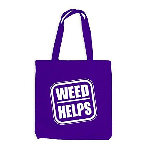 Jutebeutel - Weed Helps - Fun Spaßmotiv Therapie Spruch Violett