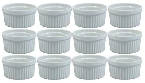 Viva Haushaltswaren - 12 x weiße Auflaufform aus Porzellan, kleine Kuchenform für Creme Brulee und als Dip- und Snackschale verwendbar Form Porzellan