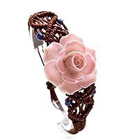 Women Ethnic Style Ceramic Rose Hand-Weave Bracelet