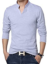 LionRoar Men's Cotton Long Sleeve Chinese Collar Polo Neck T-Shirt For Men