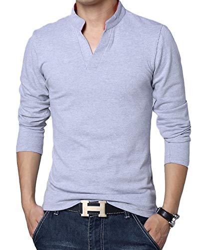 LionRoar Men's Cotton Long Sleeve Chinese Collar Polo Neck T-Shirt for Men...