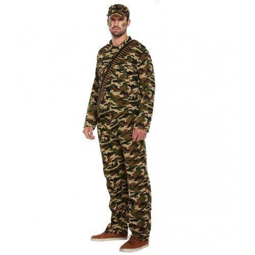 Herren Erwachsene Khaki Tarnmuster Armee Kadett Armee Kostüm Kleid Outfit (Armee Kadett Kostüme)