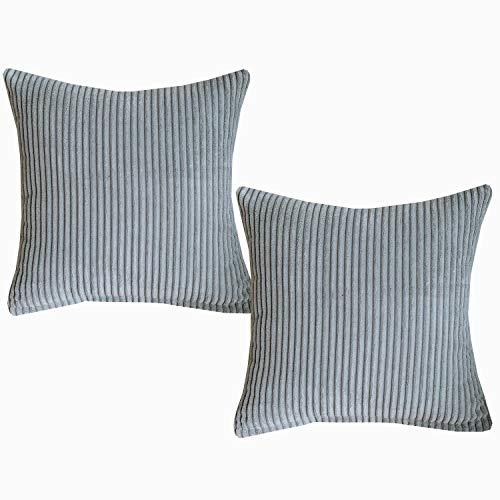 Sunday Praise Kissenbezüge, 2 Stück, SAMT, quadratisch, 45,7 x 45,7 cm, gestreift, handgefertigt, für Couch, Sofa, Bett, Stuhl Modern 18x18 inch grau