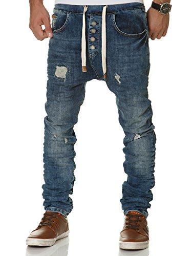 0a946e64cde9 FRANZ HANNA Herren Jogg Jeans JoggJeans Denim Hose Sweatpants FH1002 Blau