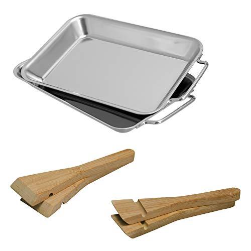 bremermann Grillpfanne inkl. Bambus-Schabern, Edelstahl
