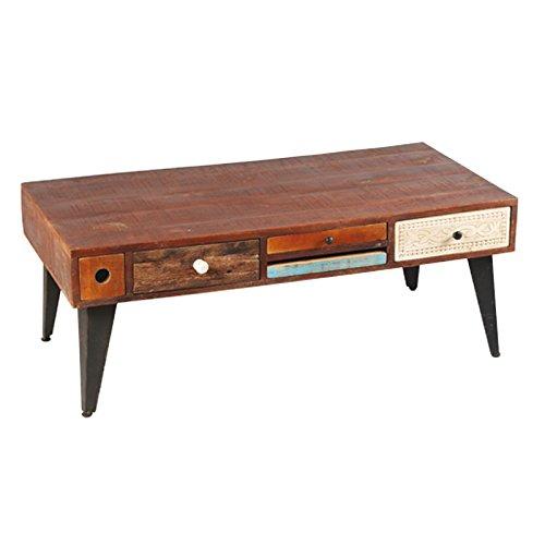 Tousmesmeubles Table Basse Rectangulaire 5 tiroirs Bois de Palissandre - Denver - L 120 x l 60 x H 46 - Neuf
