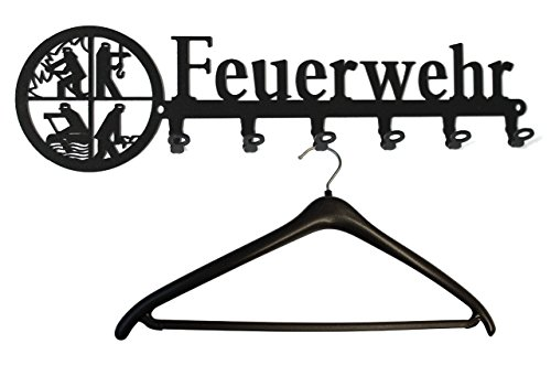 Wandgarderobe Feuerwehr - Retten Löschen Bergen Schützen - Kleiderhaken, Garderobe, Metall, 6 Haken schwarz