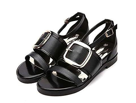Pump Hollow Metal Belt Buckle Flat Sandals Casual Shoes Roman Shoes Women Sweet Open Toe Ankle Strap Court Shoes Eu Size 34-40 , black matte ,