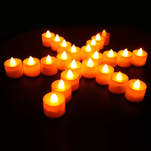 Yoeeku LED Candles, Flameless Tea Lights Candles Tealights Candles with Flickering Flame Electric Tea Lights – LED Candle Bulb Lamp Warmer for Halloween, party, bar, Wedding, Christmas (24Packs, Flick