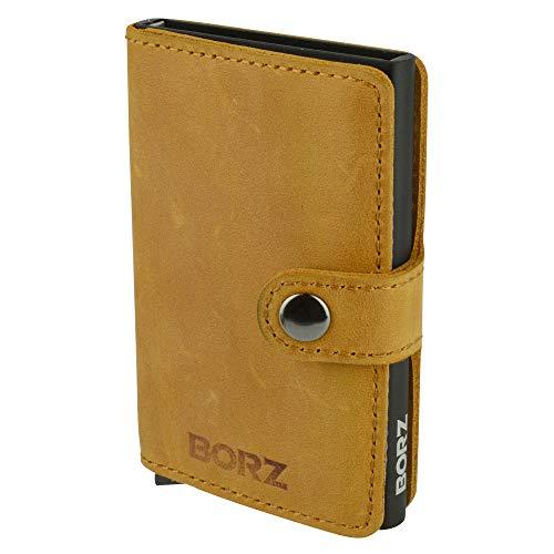 BORZ Prime - Mini Wallet | Kartenetui mit RFID Schutz | Extrem leicht & kompakt | Premium Herren Geldbörse mit Kartenhalter | Geldbeutel für Karten & Scheine aus Echtleder