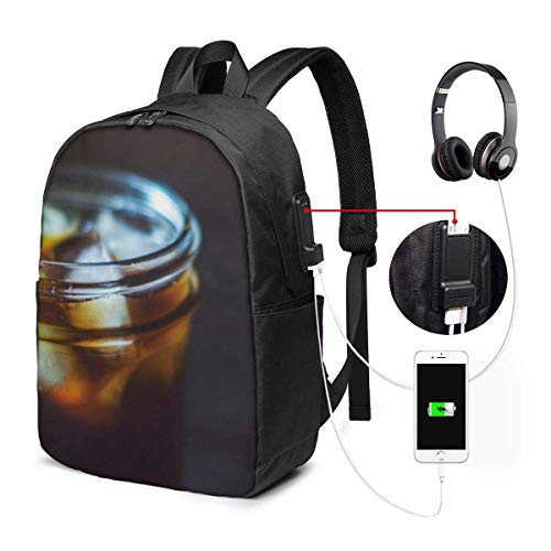 Drink Ice Cubes Tea Waterproof Laptop Backpack with USB Charging Port Headphone Port Fits 17 Inch Laptop Computer Backpacks Travel Daypack School Bags for Men Women