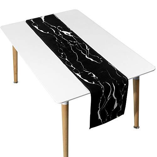 -Weiß-Tischläufer, Marmorstreifen, Lange Tischdecke, Weiß   Schwarz, Geeignet Für Hochzeit   Party   Geburtstag   Weihnachten   Tanzen ++ (Farbe : Black, Size : 30x160cm) ()