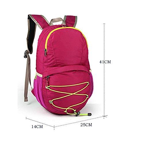 ROBAG Zaino in tessuto nylon impermeabile pieghevole ultra leggero 12L, borsa da escursione esterna , roses red black