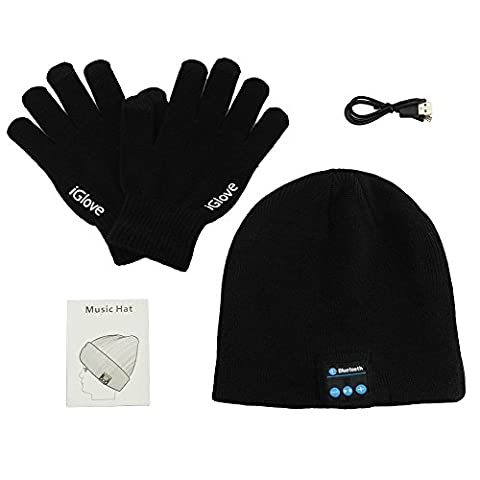 Anpress Wireless Bluetooth Beanie Hat + TouchScreen Gloves, Knitted Music