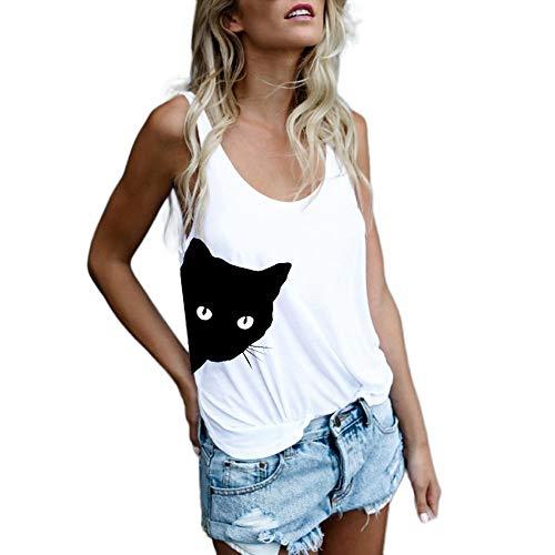 JiaMeng Frauen süße Katze gedruckt Weste Kurze Oberteile gedruckt
