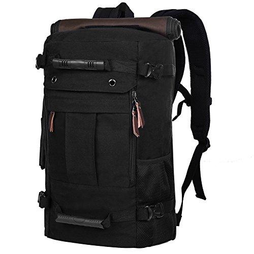 Imagen de vbiger  de viaje de lona capacidad grande para ir de excursión la  tiene múltiples funciones para llevar el ordenador portátil, subir y senderismo hombre negro
