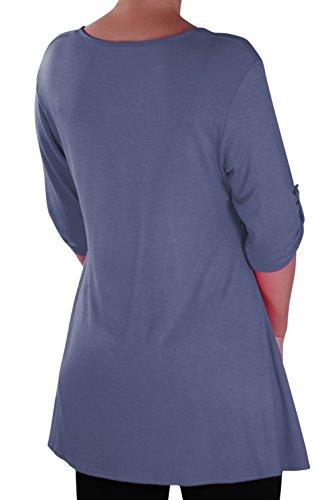 EyeCatch - Eva Aux femmes Bouton Avant Aavec Encolure Dégagée Tunique Grande Taille Dames T-shirt Long Tops Denim Bleu