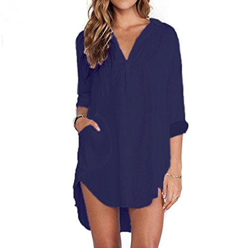 ZANZEA Mujeres Camisa Elegante Blusa Mangas Largas Camiseta Chiffón Polsillo Escote V (EU 48, azul)