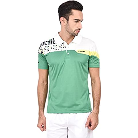 Maglietta Polo da uomo da Tennis HEAD HCD Serie, Uomo, Green/White/Yellow, XS
