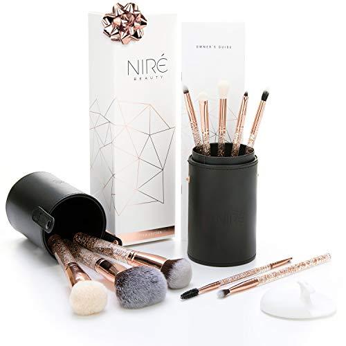 Niré Beauty Essential Glow Set Pennelli Make up Professionali con Porta Pennelli Trucco e Spazzola Detergente Viso (Rose Gold)