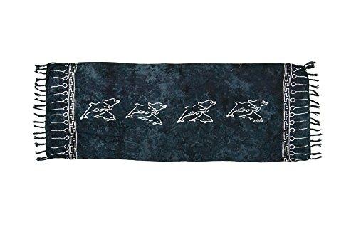 ManuMar Donna sarong   Pareo telo mare   leggero per telo fasciatoio con frange nappe Schwarz Delfin