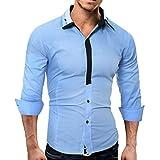 Innerternet Herren Hemd Slim-Fit Langarm Herren Kariert Hemden Freizeit Hochzeit Arbeit Business Super Qualität Mode Einfarbig Bluse Freizeithemd