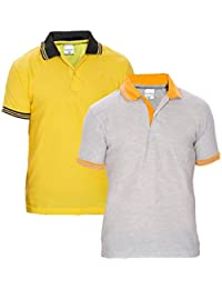 Baremoda Men's Polo T Shirt Grey And Yellow Combo Pack Of 2