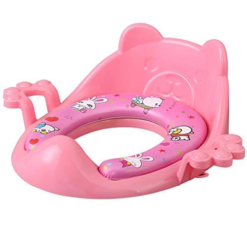 LCPG Toilette pour enfants Siège de toilette pour enfants Hommes et femmes Siège de toilette pour bébé Coussin de toilette Cuvette pour bébé avec coussin pour augmenter (Couleur : Pink)
