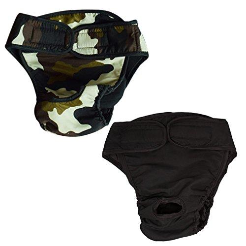 HIKONG 2 Pack Pantalones Sanitarios Perros Pañales Mascotas Ropa interior Menstrual Bragas Fisiológicas Calzoncillos Lavables Animal Doméstico