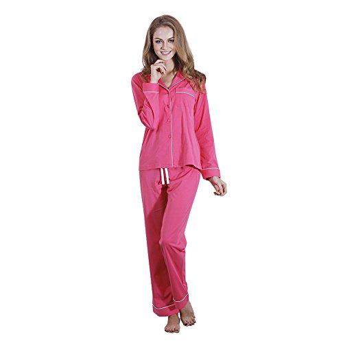 FeelinGirl edler Baumwoll-Pyjama Hausanzug aus schickem langarmem Oberteil und toller langer Hose Rose M (Baumwolle Feste Schlaf-hose)