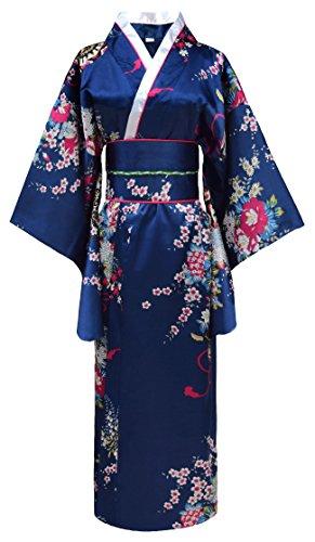 Japanischer geisha Kimono dunkelblau mit Obi-Gürtel