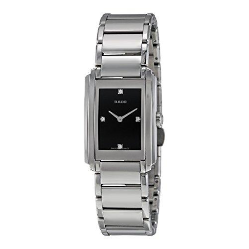 Rado Integral Negro Dial Acero inoxidable Acero Damas Reloj de cuarzo r20213713