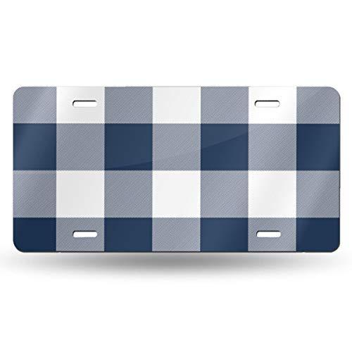 Alice_Home_Collect Jumbo Plaid 3 Navy Buffalo Check Aluminium Kennzeichen, Frontkennzeichen, Schminkschild, Wanddekoration, Auto -