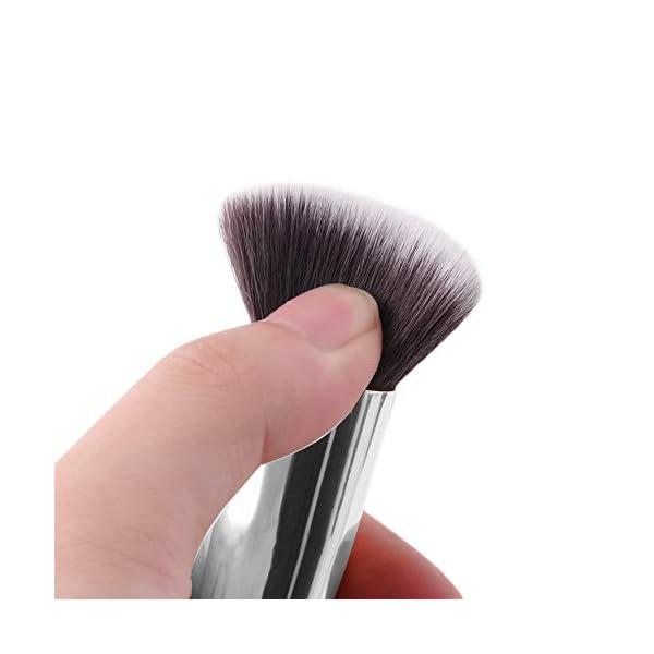 RoadRoma 10 Piezas de Maquillaje Profesional Cosméticos Blush Cejas en Polvo Pinceles Set (Blanco y Plata) 2
