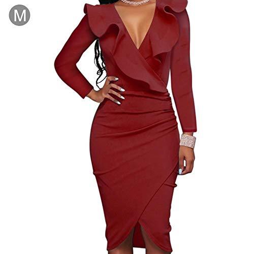 06634efb08c5f Killysufuy Women s Long Sleeve V Neck Bodycon Dress Flounce Waist Slimming  Dress 3 Color 5 Sizes