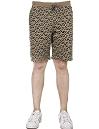 059ea6ac21 AVR Men's Terry Allover Print Cotton Regular Fit Casual wear Camel Shorts ( Size-M