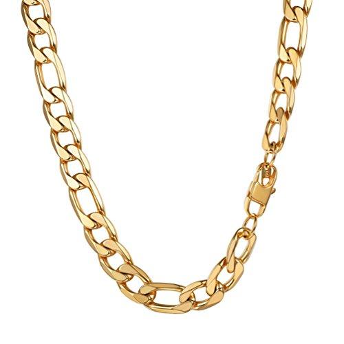 """PROSTEEL Chaîne Homme Plaqué Or Link Chain Maille Figaro 1+3 Bijoux Simple Largeur 13mm (Doré; 18""""/46cm)"""