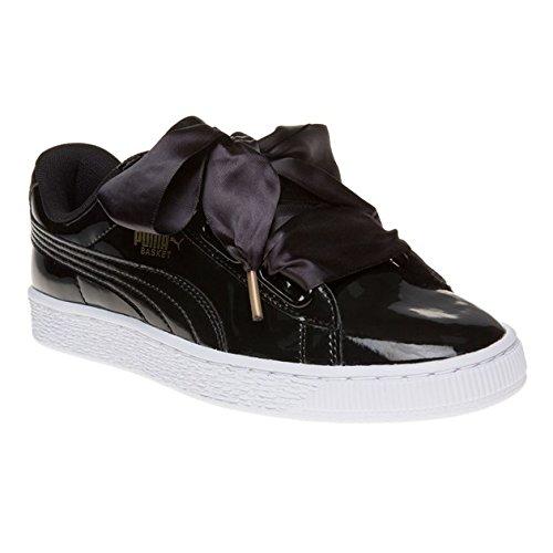 Puma Basket Heart Patent Wn's, Sneakers Basses Femme, Noir (Puma Black-Puma Black), 40.5 EU