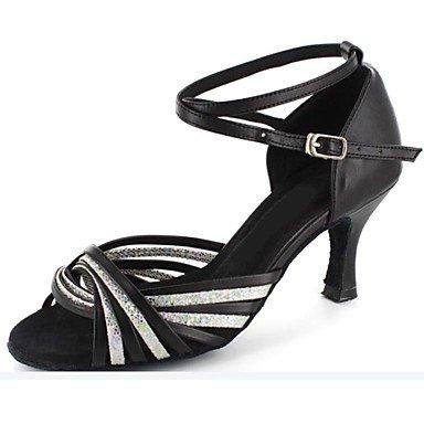 Silence @ Femme latine Sandales Talon Bout ouvert Chaussures de danse Plus de couleurs noir