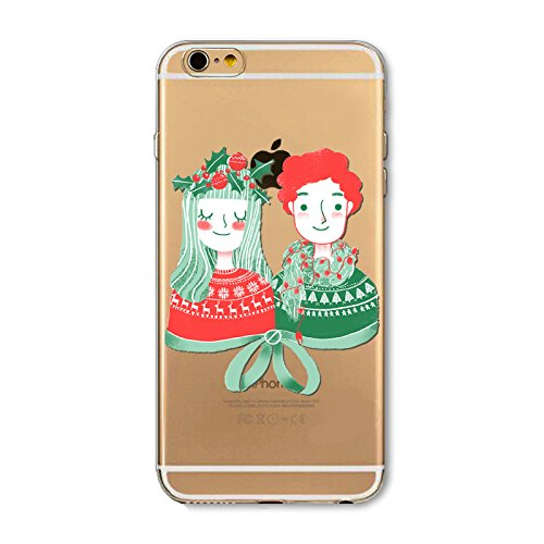 Weihnachten Hülle für iPhone 7 Plus / iPhone 8 Plus MOONMINI Ultra Dünn Weihnachten Dekoration Weiche TPU Silikon Full Body Schutz Rückseite Transparent Schutzhülle Shell für iPhone 7 Plus / iPhone 8  Couple