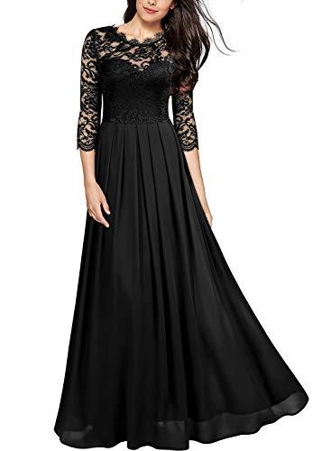 Miusol Damen Elegant Halbarm Rundhals Vintage Spitzenkleid Hochzeit Chiffon Faltenrock Langes Kleid Schwarz Gr.L Chiffon Vintage Abendkleid