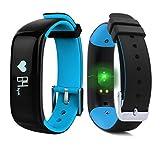 Fitness Tracker, Herzfrequenzmesser, wasserdicht IP67, Schrittzähler, Fitness-Armband, Schlafmonitor, Anruf- und Nachrichtenbenachrichtigung, kompatibel mit Android- und iOS-Smartphones., P1-Blu