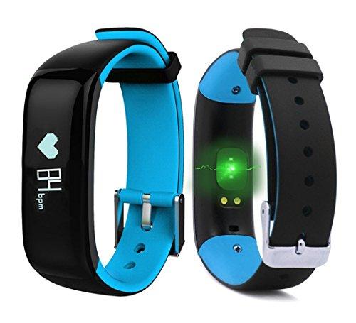 Fitness Armband Wasserdichte IP67, Fitness Tracker Intelligent Bluetooth Touchscreen OLED Sportuhr Activity Tracker mit Herzfrequenz Monitor / Sleep und Kalorienüberwachung Smartwatch Pedometer für IOS und Android Smartphone (Blau)
